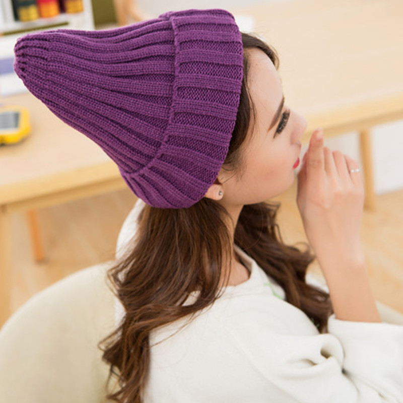 21 Colors Solid Women Winter Beanie Girls' Knitted Cap Hip Hop Winter Hat Warm Hat Bonnet Femme Gorros Mujer Autumn Hat Feminino