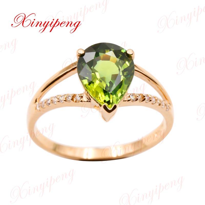 Xin yi peng 18 К Желтое золото инкрустация натуральный фиолетовый Сапфировое Кольцо женское кольцо красивое щедрое