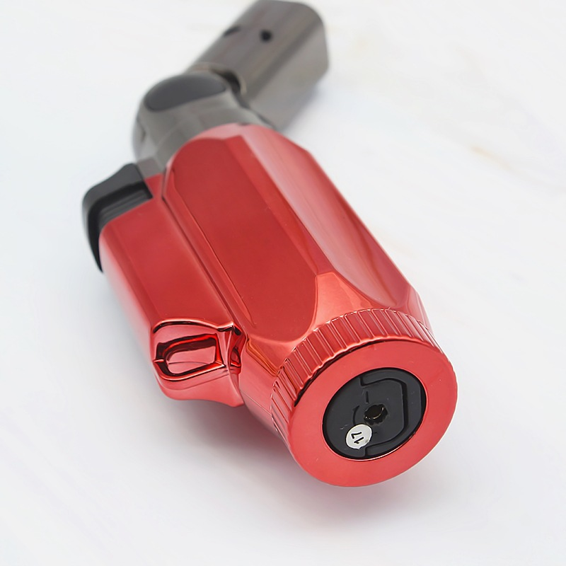 Image 3 - BBQ Lighter Cigar Torch Turbo Lighter Jet Butane Cigarette 1300 C 4 Nozzles Spray Gun Windproof Metal Pipe For Kitchen No Gas-in Matches from Home & Garden