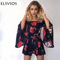 ELSVIOS 2018 Sexy Off Shoulder Romper Jumpsuit Women Summer Slash Neck Floral Print Playsuit Lady Casual