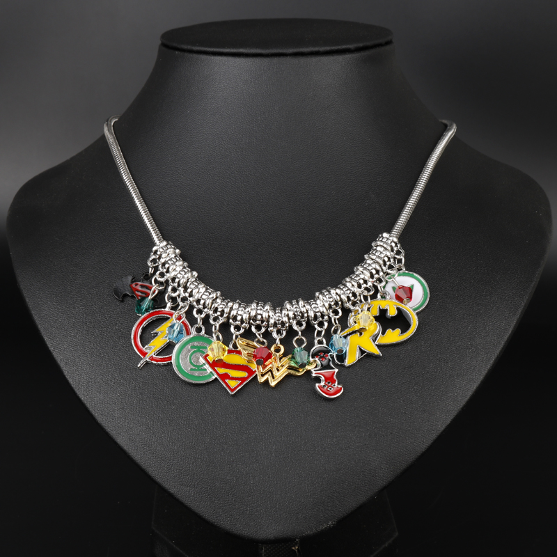 dongsheng Justice league Flash Green Lantern Superman batman Necklace Star trek Superhero Cryatal beads Pendent Choker -30 ...