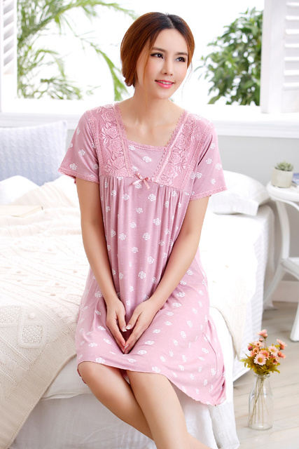 Cotton Nightgowns Women Short Sleeve Lace Home Dress Nightwear Cute Floral  Print Sleepwear Night Gown Nightdress Female Summer 1bc31f4b7