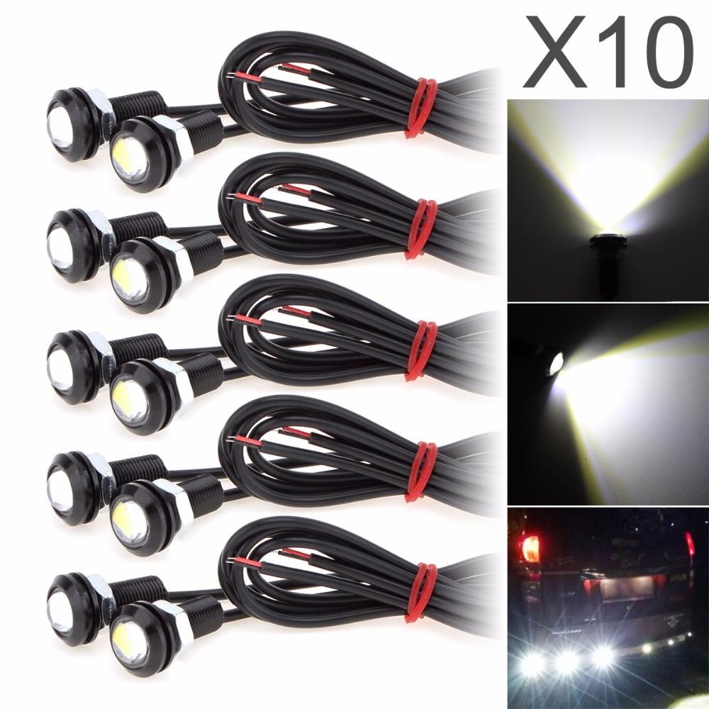 10pcs White 6000K Eagle Eye 9W 18MM 5730 Chip Car Fog Light 12V Auto Day Running Light Bulb Reverse Backup Parking Signal Lamp