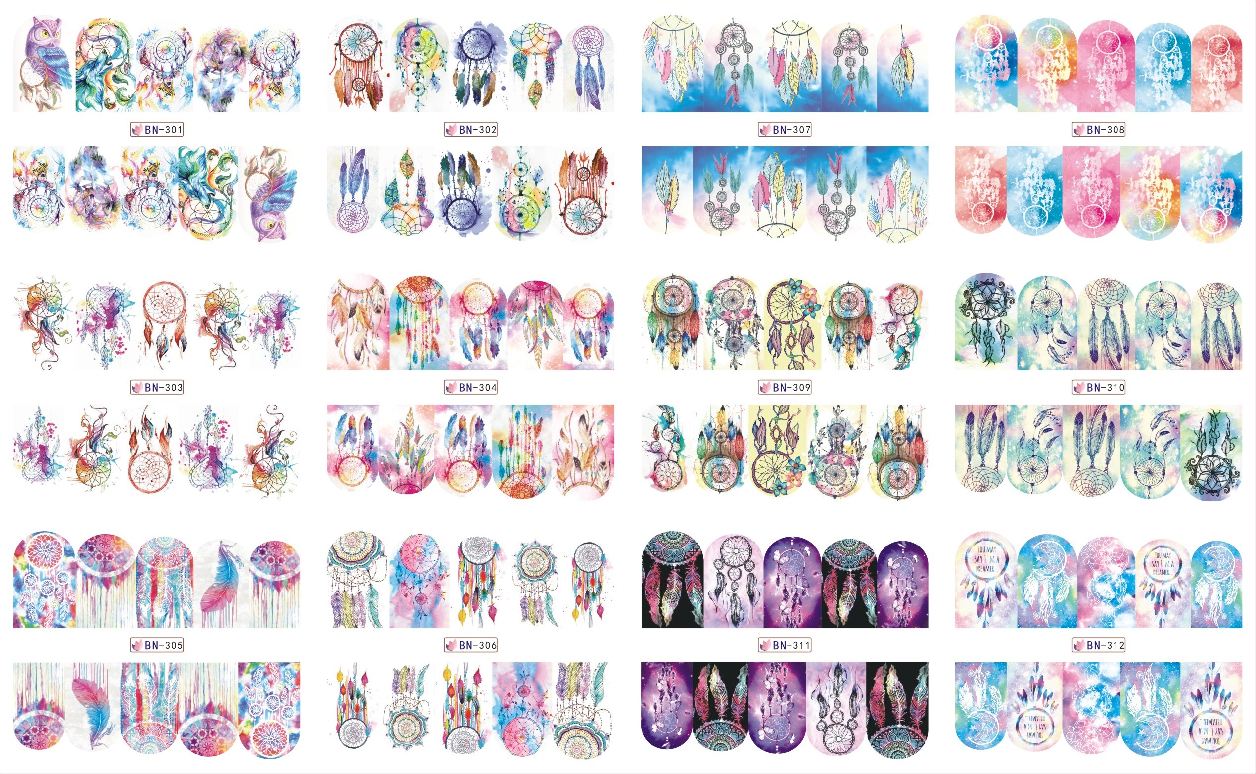 все цены на 12 Sheets/Lot Nail BN301-312 Hot Fashion Dream Catcher Full Cover Nail Art Water Wraps Sticker Decal For Nail (12 DESIGNS IN 1) онлайн