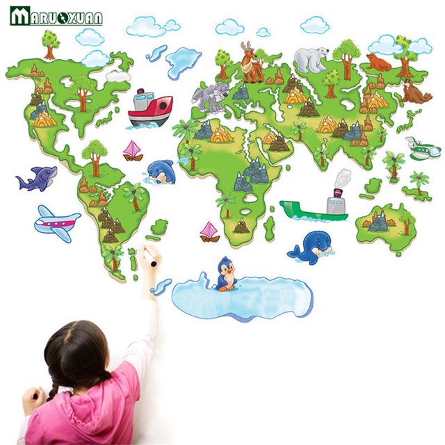 Color World Map Childrens Wall Stickers TV Background Wall - Childrens wall map
