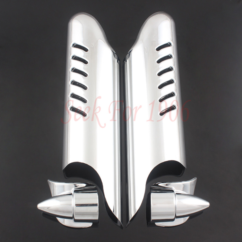 Chrome Fork Lower Leg Deflector Shield Cover Fit For Harley Touring 2000 2013
