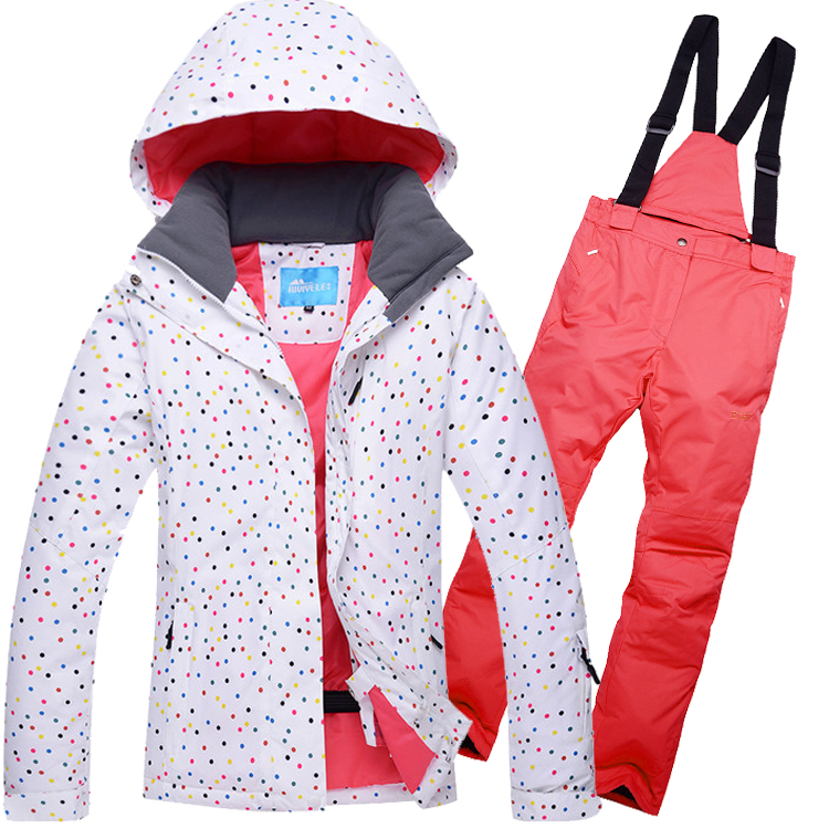 Women Dot Style Ski Suit Windproof Waterproof Outdoor Sport Wear Camping Riding Skiing Snowboard Jacket+Pant Warm Clothing Suit children ski suit windproof waterproof outdoor sport wear camping snowboard skiing jacket pants winter warm clothing for 6 16t