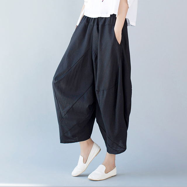 2017 New Spring and Summer Cotton and Linen Trousers Women Chinese Style Harem Pants Plus Size Loose Pantalones Mujer