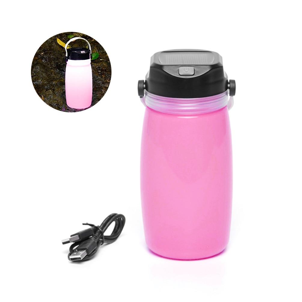 LEDGLE Multi-purpose Outdoor Lamp Solar Camping Lantern Rechargeable Emergency Light Creative LED Night Light, Pink