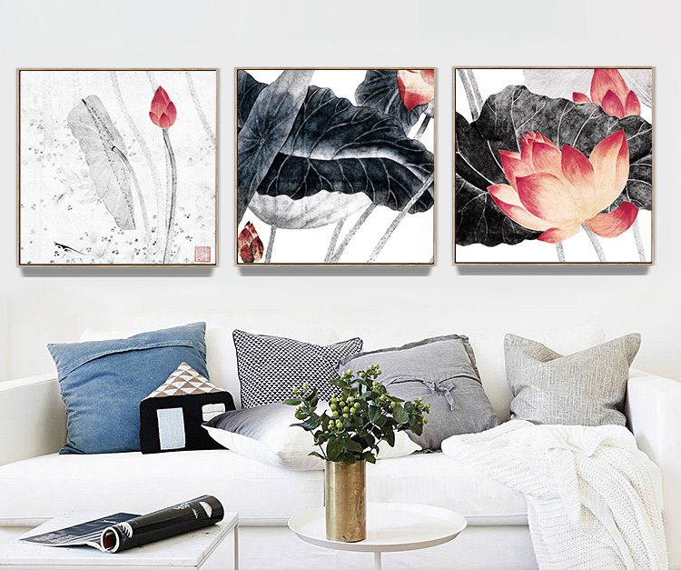 Nordic Minimalist style Ink Lotus Folwer Poster Canvas Wall Home Decoration Combined