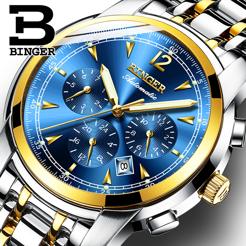 Switzerland Automatic Mechanical Watch Men Binger Luxury Brand Watches Male Sapphire clock Waterproof reloj hombre B1178-13 otomatik yeÅŸil erkek saat