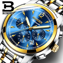 Switzerland Automatic Mechanical Watch Men Binger Luxury Brand Watches Male Sapphire clock Waterproof reloj hombre B1178-13 switzerland binger brand men automatic mechanical watches luminous waterproof full steel belt energy display male fashion watch