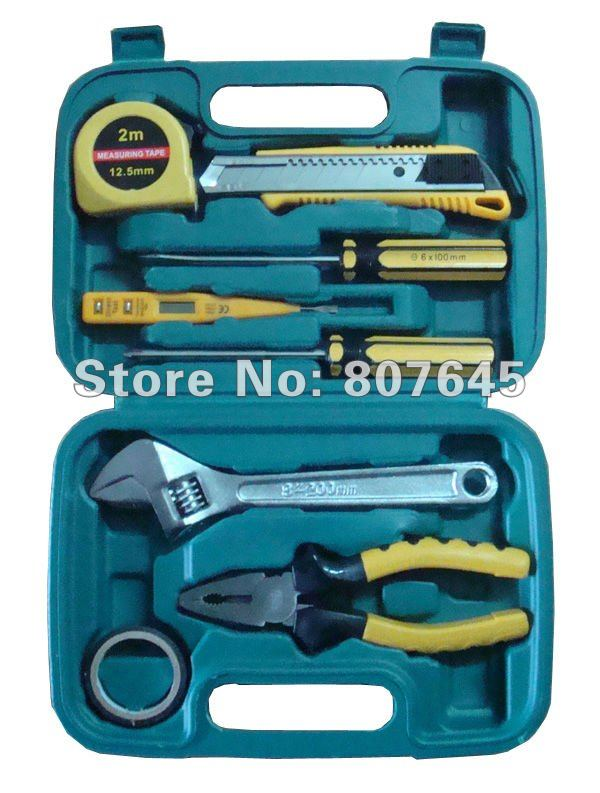 ФОТО 9PCS hand tool set & home tools (plier, screwdriver, hammer, cutter, ruler, test pen)