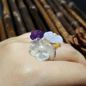 Image 5 - LiiJi Unique 925 Sterling Silver Amethyst Rose,Blue Aquamarine Crystal,Opal Crystal Flower Pearl Ring for Women Girls Gift