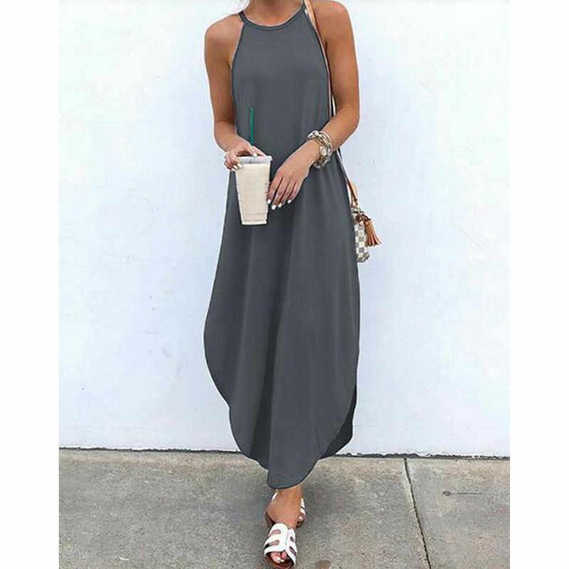 Plus Size Solto 2XL Pendurar No Pescoço Vestido Irregular das Mulheres Vestido de Verão Cor Sólida Spaghetti Tiras Maxi Vestido