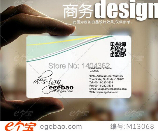 Customized business card printing Plastic transparent /White ink PVC Business Card one faced printing 500 Pcs/lot NO.2053