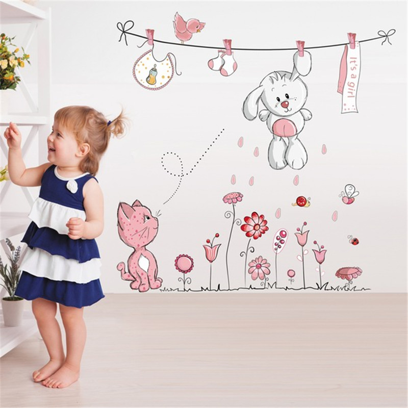 Cute Hang Clothes Rabbit Cat Removable Mural Kindergarten