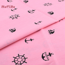 Motiro Printed Twill Cotton Meter Fabric Pink Pattern