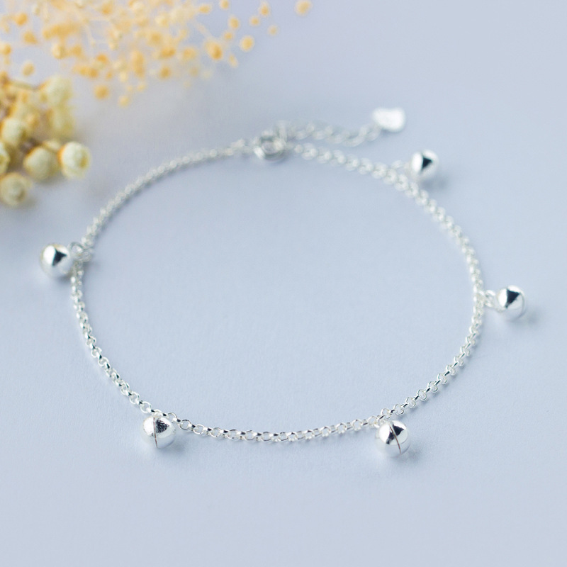 Wholeslae Womens Real. 925 Sterling Silver Jewelry Jinjle Bell Chime Sounds Anklet Bracelet -really Good Quality GTLS394