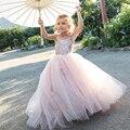 Lovely Pink Flower Girls Dresses for Weddings 2016 Spaghetti First Communion Dresses for Girls Pageant Dresses Sweep Train