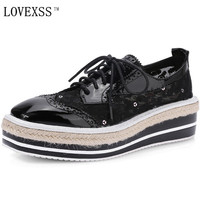 KEAIQIANJIN Straw Genuine Leather Brogue Shoes Cross Tied Net Cloth Round Toe Female Casual Shoes Large