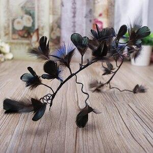 Image 4 - Haimeikang nowe barokowe pióra do włosów opaska stroik panna młoda paw Lupin Tiara dzikie Cheongsam świąteczne akcesoria do włosów