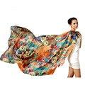 Nuevas Bufandas de Seda de Las Mujeres de Seda Pura Bufandas De Seda Chales Bufanda Floral Impreso 100% Natural Larga de Gran Tamaño Protector Solar Para Señoras de la Oficina