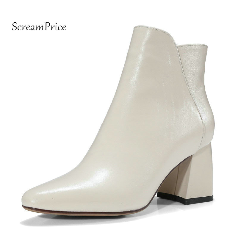 New Genuine Leather Comfort Square Heel Side Zipper Woman Ankle Boots Fashion Pointed Toe Dress Boots Ladies Black Beige