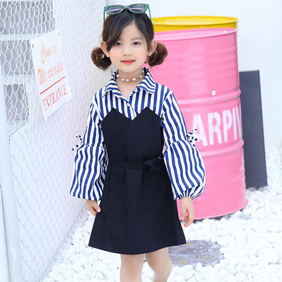 d4436a82db8 Striped Dresses For Girls Autumn Patchwork Girls Party Dress Kids Long  Sleeve Girl Dress Teenage Girls