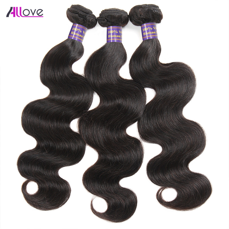 3 Bundle Brazilian Body Wave Hair Bundles Høj kvalitet 100% - Menneskehår (sort)