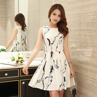 High Quality Summer Dress 2016 Women Brand Print Slim Sleeveless Elegant Dresses Female Casual Fashion Beautiful