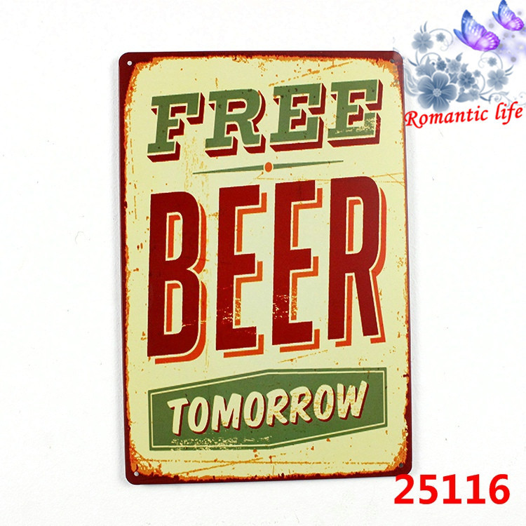 free beer tomorrow tin signs metal old wallmetal painting art decor Size 20*30No25116