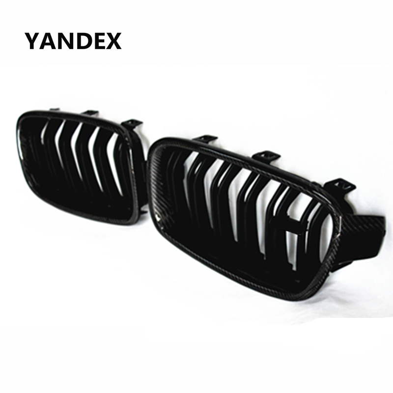 YANDEX F30 Carbon Fiber Grill M Performance tri color Kidney Grille Mesh for BMW 3 Series F30 F31 2012 IN F30 Bumper Grille