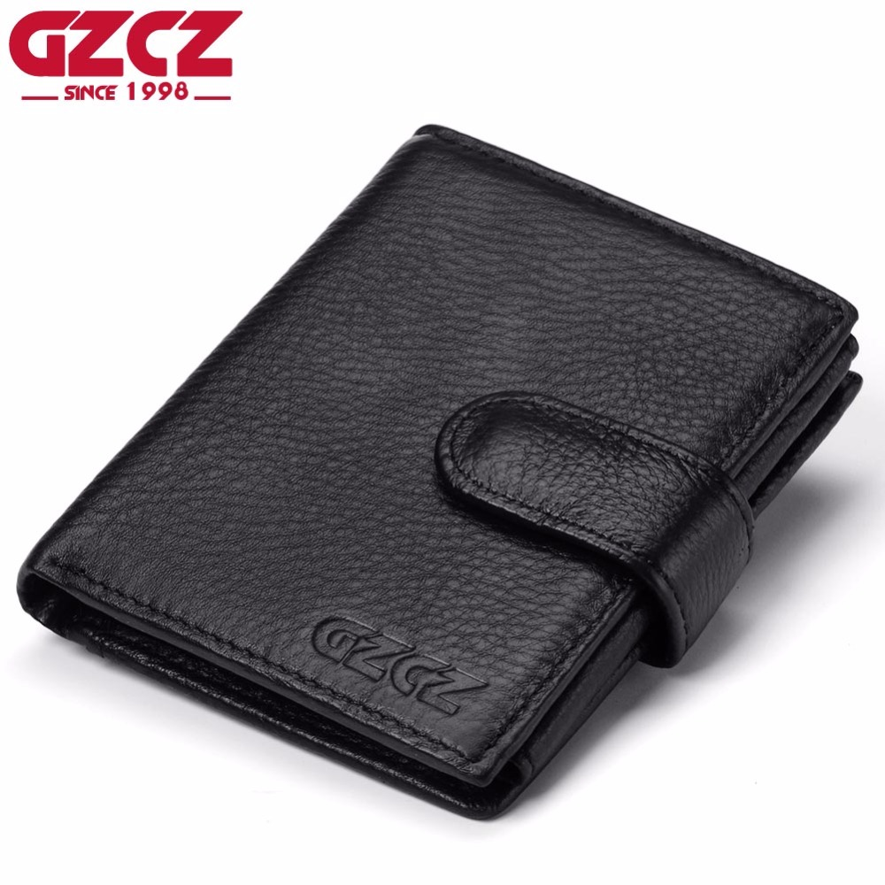 GZCZ Genuine Leather Wallet Mens Luxury Brand Coin Purse Mini Walet Male Clutch PORTFOLIO MAN Card Holder Zipper Design Perse