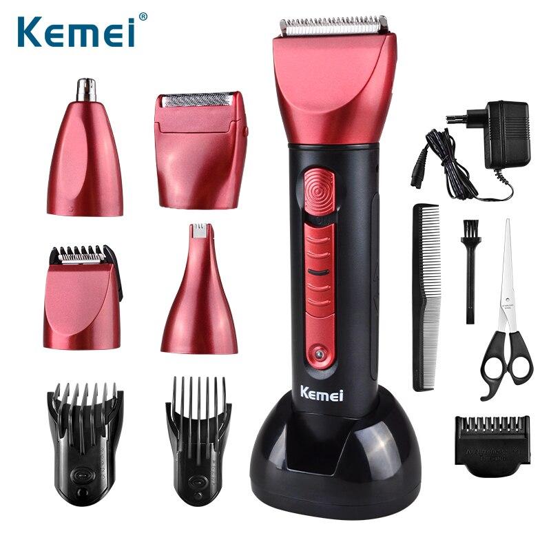 Kemei KM-8058 nouveau électrique 5 en 1 tondeuse à cheveux Rechargeable tondeuse rasoir rasoir étanche sans fil réglable tondeuse