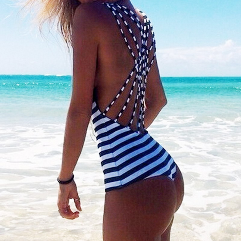 Sexy One-Piece Swimsuit Women Summer Swimwear Beach Suit Monokini Push up Padded Backless Striped Swimwear Bathing Suit