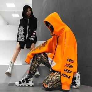 Image 3 - Automne 2018 nouveau Zipper lettre impression Hoodis pour hommes et femmes surdimensionné coton lâche mode pull Sweatshirts porter Couple