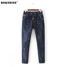 ROKEDISS Women autumn winter Thicker Pants Casual Trousers For Ladies Blue Skinny Denim Calf Length Jeans X114