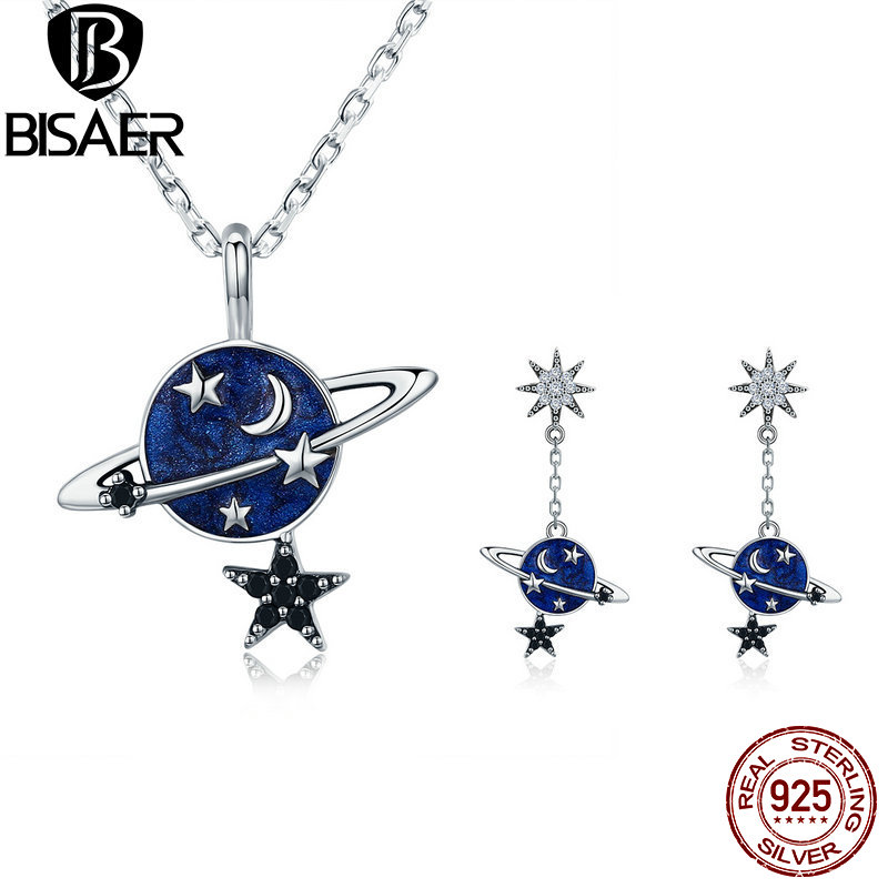 BISAER Silver 925 Sterling Silver Jewelry Sets Brincos Sparkling Plant Moon Star Earrings Necklace for Women Fashion Jewelry Set retro style moon star sun layered necklace set for women