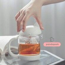 Pandapark креативная стеклянная кружка с милым котом, индивидуальная кружка с молоком, мультяшная чайная кружка с отделением для заварки кофе, стакан, кружки для завтрака PPX011