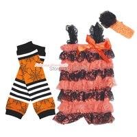 Halloween Newborn Baby Orange Lace One Piece Romper Spider Web Leg Warmer NB 3Y MARH144