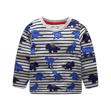 2019 new boy clothingDinosaur print stripe t-shirt Long sleeve top Baby girl Boys Children cotton Tops Tees casual Kids clothes