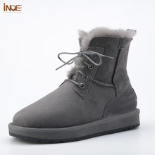 Nieuwe stijl mode echt schapenleer bont gevoerde mannen enkel winter snowboots voor man lace up casual winter schoenen zwart(China)
