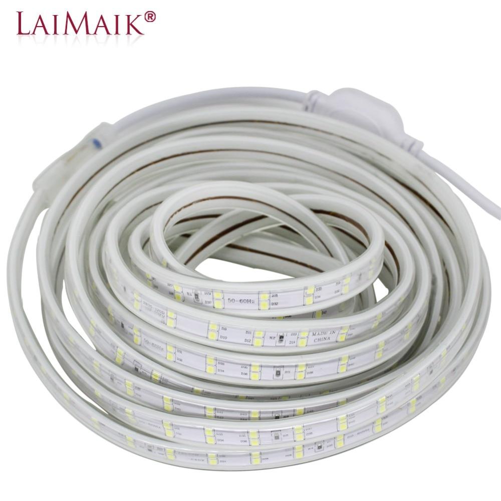 LED Strip Light 120leds/m Double Row 220V 240V led strip 5050 warm white/white/purple led tape light 1m 5m 10m 15m 20m 50m 100m waterproof 48w 600 x 3528smd led 6000 6500k white light strip ac 220v 10m