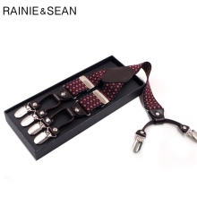 RAINIE SEAN Suspenders For Shirt Men Vintage Male Braces Red Wedding 6 Clips Elastic Brand Clothing 120cm 3.5cm