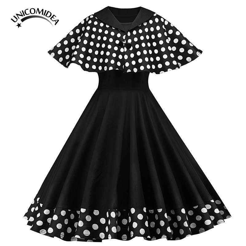 1cfeedc48250 Vintage Polka Dot Patchwork Dress Women Cape Two Piece Outfits Dresses  Casual 50s 60s Swing Robe