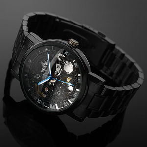 Image 3 - 2019 New Black Mens Skeleton WristWatch Stainless steel Antique Steampunk Casual Automatic Skeleton Mechanical Watches Male