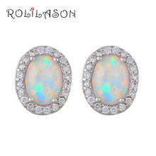 1.88g Wholesale & Retail White Fire Opal Silver Stamped Oval Stud Earrings Fashion Jewelry for women OE586