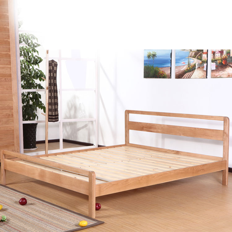 Muji Minimalist Modern Japanese Style Wood Solid Bed 1 8 M White Oak Double Furniture In Wardrobes From On Aliexpress Com