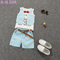 New arrival 2017 Summer Children clothing set baby boys waistcoat+belt shorts suit style Kids letter Tie clothes 3 colors clt076